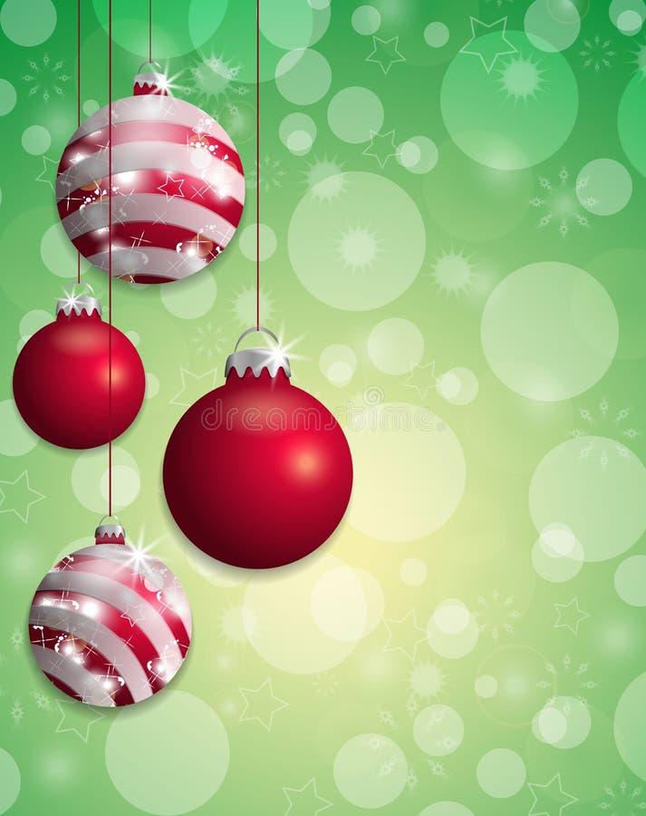 Grön julbakgrundsbokeh med hängda röda struntsaker vektor vektor illustrationer