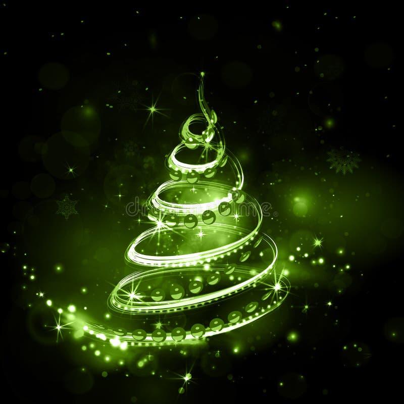 Grön julgran på nattferiebakgrund med birning royaltyfri illustrationer