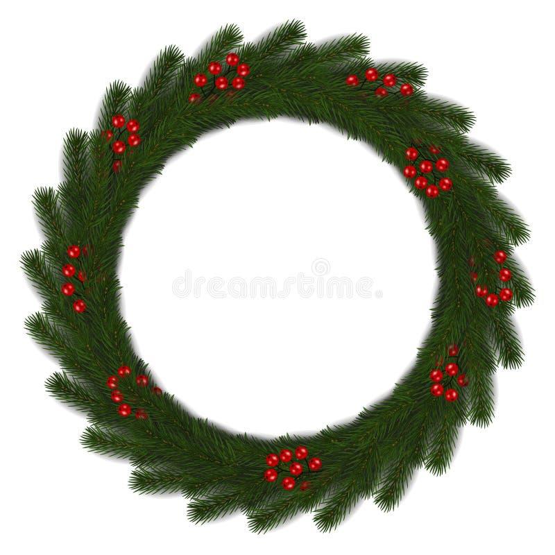 Grön julkrans med den röda bärvektorn som isoleras på vit bakgrund Anständigheter för Xmas-rundagirland royaltyfri illustrationer
