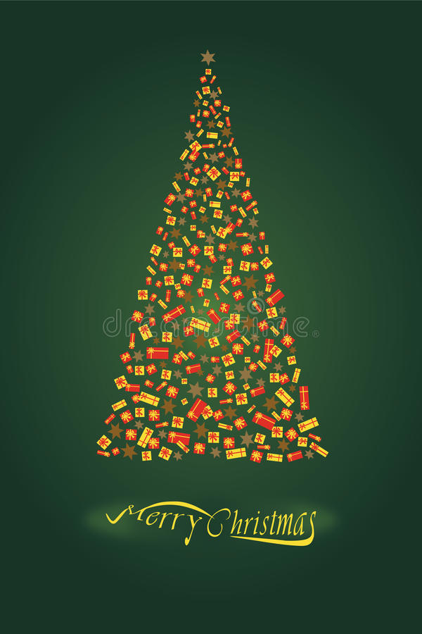 Grön jultree stock illustrationer