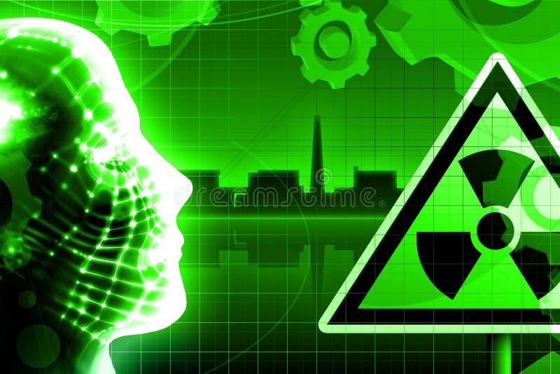 grön kärn- växtströmradioactivity royaltyfri illustrationer