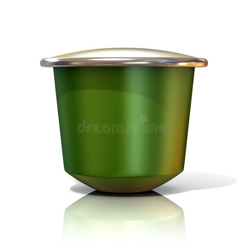 Grön kaffekapsel royaltyfri illustrationer