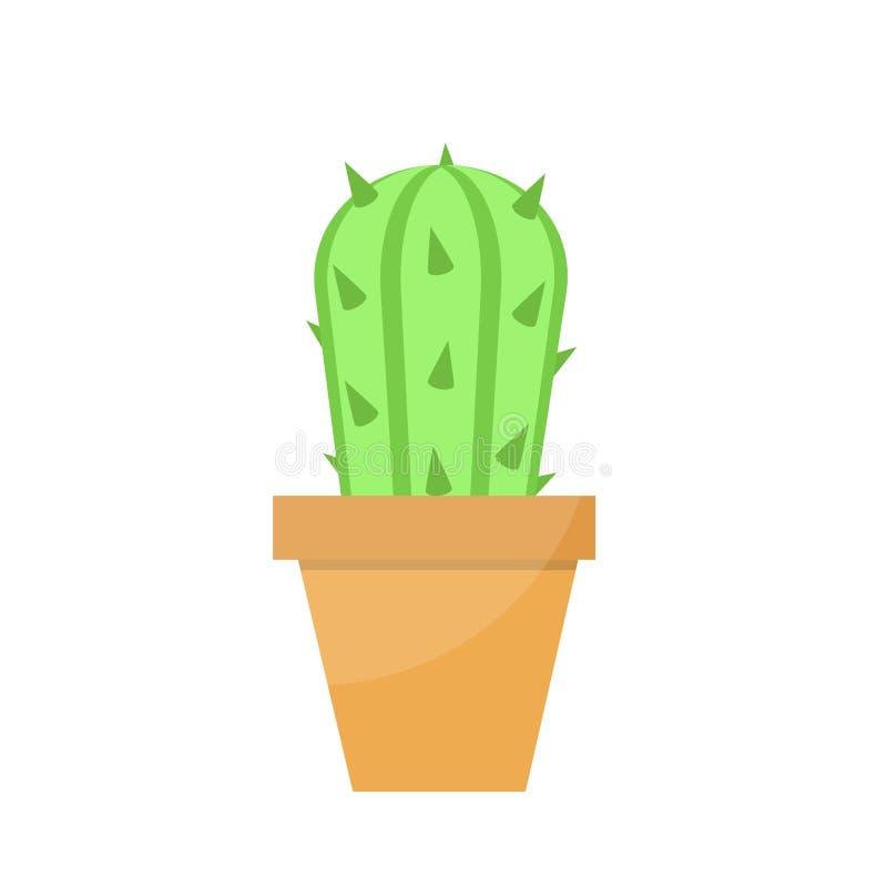Grön kaktus i krukan för hem- eller kontorsdesign i tecknad filmstil på vitt, materielvektorillustration vektor illustrationer