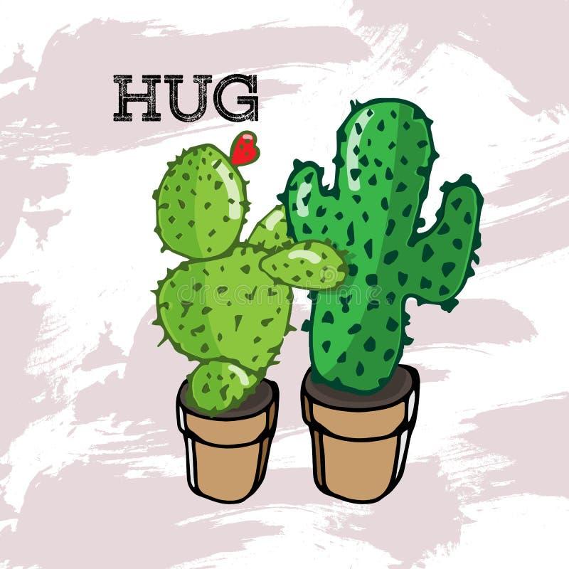 Grön kaktus som två kramar i en kruka stock illustrationer