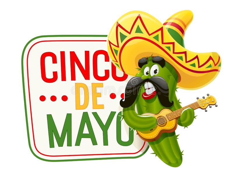Grön kaktus Tecken för Cinco de Mayo stock illustrationer