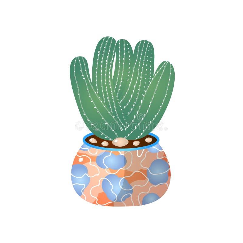Grön kaktuskruka i hemmet för inomhus rumgarnering royaltyfri illustrationer