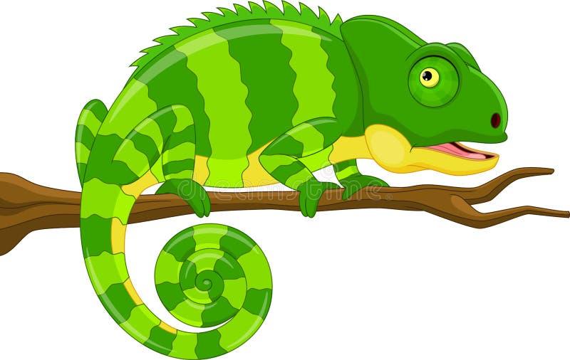 Grön kameleont för tecknad film stock illustrationer