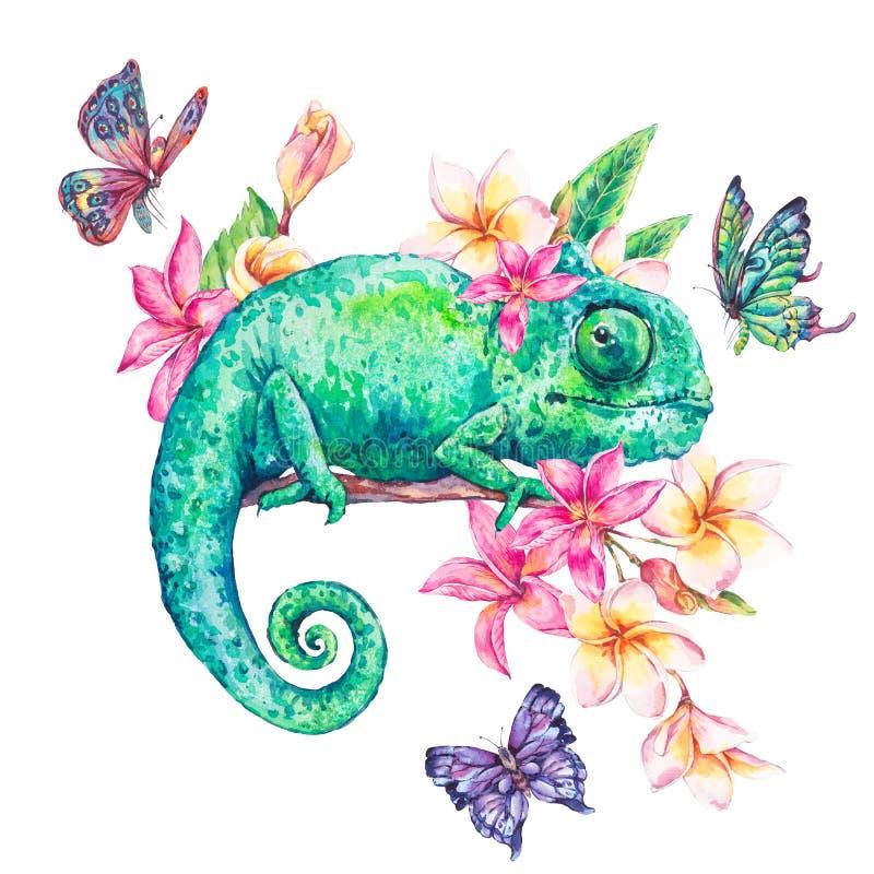 Grön kameleont för vattenfärg med fjärilar, blommor royaltyfri illustrationer