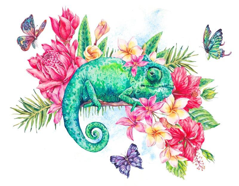 Grön kameleont för vattenfärg med fjärilar, blommor vektor illustrationer