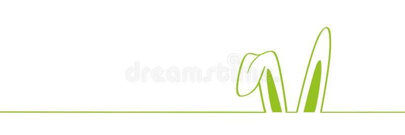 Grön kanin gå i ax gränsen på den vita bakgrundseaster designen stock illustrationer