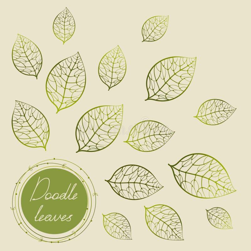 Grön klottercirkelram med handteckningssidor vektor illustrationer