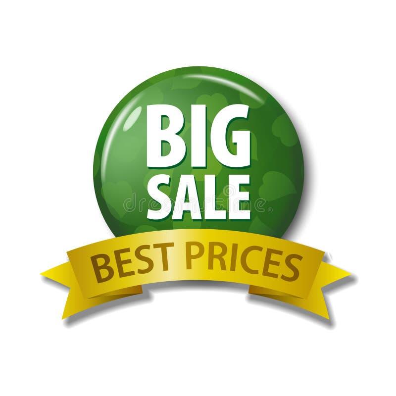 Grön knapp och band med för Sale för ord` stor ` bästa priser, royaltyfri illustrationer