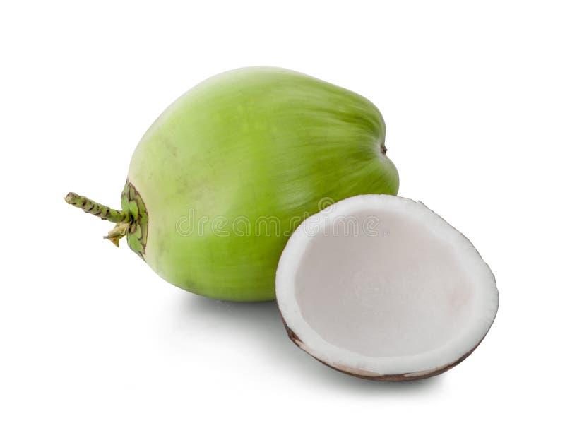 Grön kokosnötfrukt som isoleras på vit bakgrund royaltyfri foto