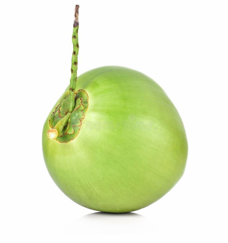 Grön kokosnötfrukt som isoleras på vit bakgrund royaltyfria foton