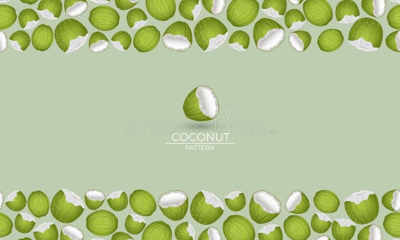 Grön kokosnötkader stock illustrationer