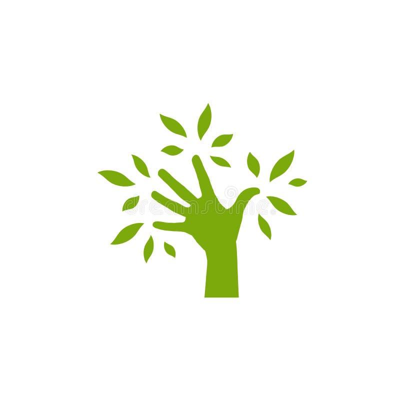 Grön kontur av handen med sidor ekologisymbol med handträdet Räddningnaturlogo som isoleras på vit stock illustrationer