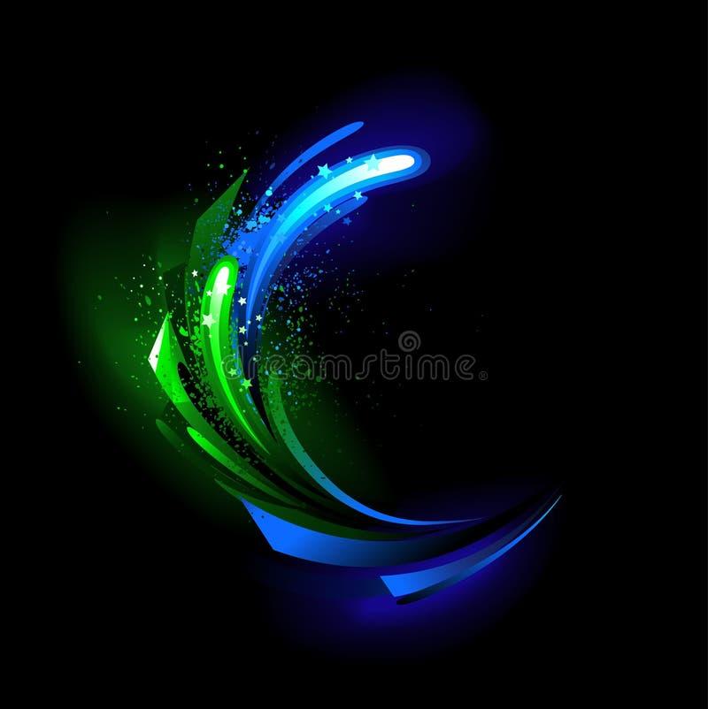 Grön kristall för glöd stock illustrationer