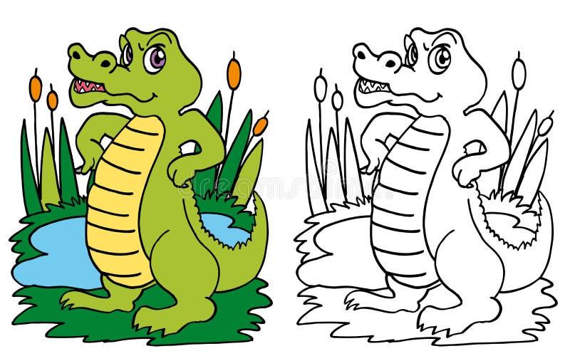 Grön krokodil på dammet royaltyfri illustrationer