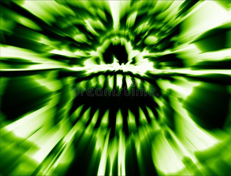 Grön läskig gigantisk skalle Illustration i genre av fasan royaltyfri illustrationer