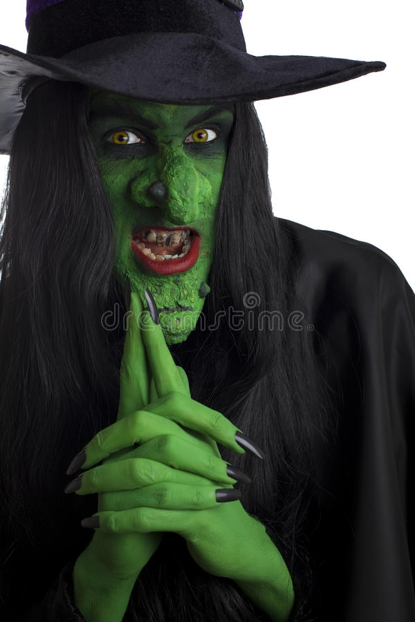 grön läskig häxa royaltyfri foto