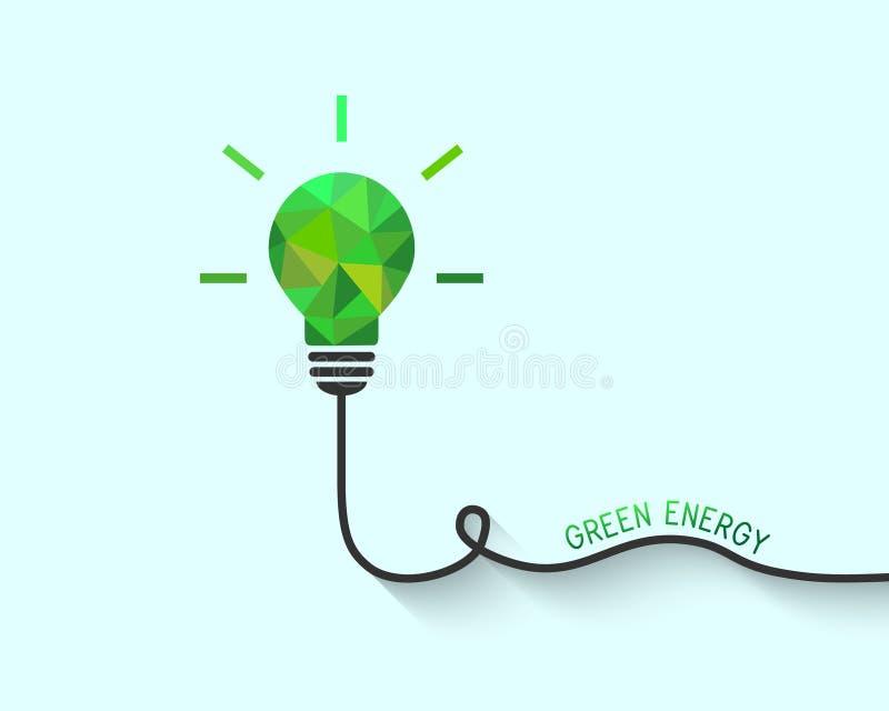 Grön låg poly lightbulb som besparingenergibegrepp royaltyfri illustrationer