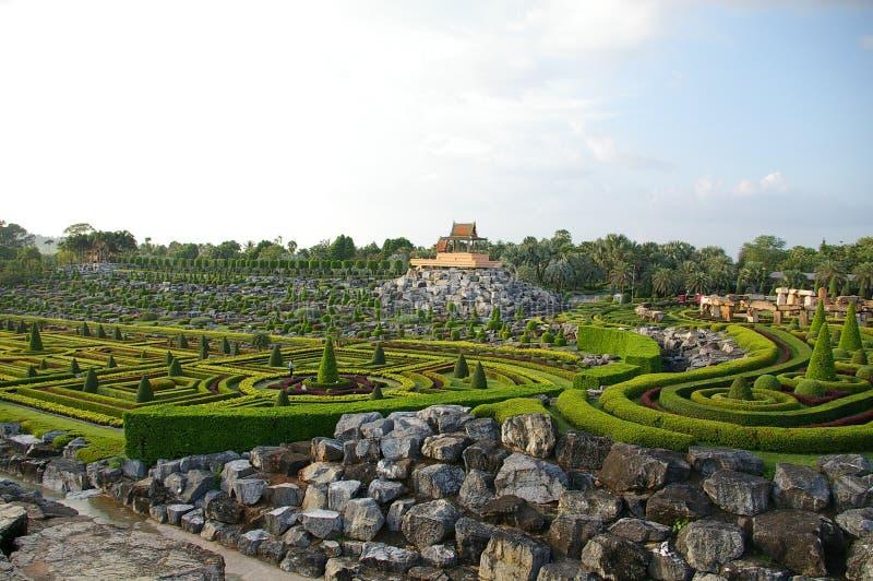 Grön labirint i den Nong Nooch trädgården i Pattaya, Thailand royaltyfria bilder