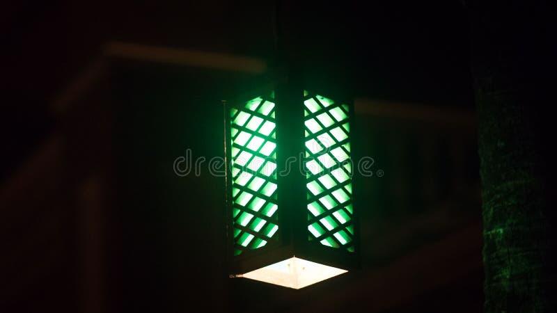 Grön lampa som hänger från tak arkivbilder