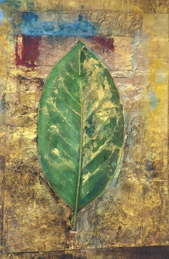 Grön Leafmålning royaltyfri illustrationer