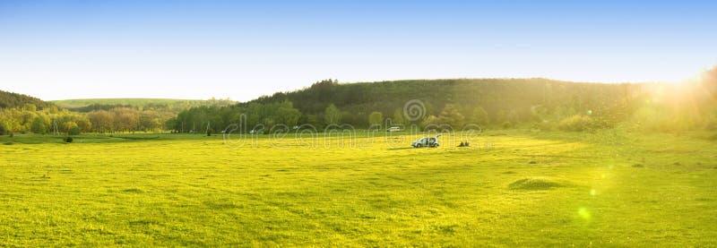 Grön liggande och blå sky arkivbild
