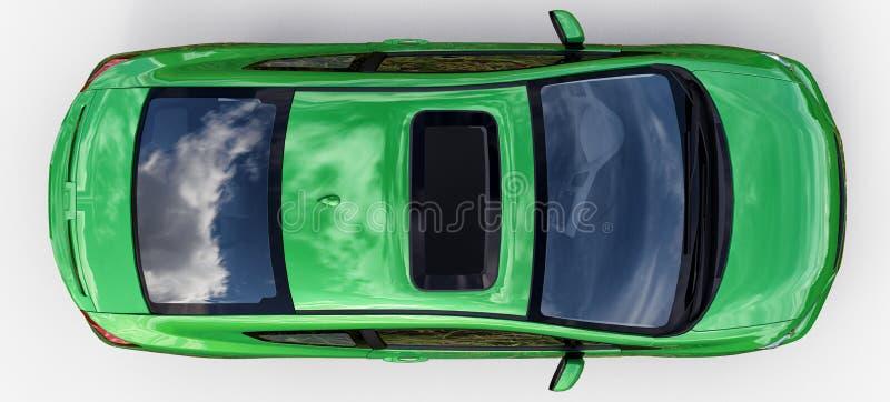 Grön liten sportbilkupé framförande 3d arkivfoto