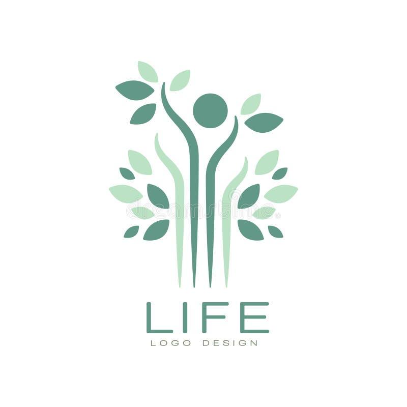 Grön livlogo med sidor och det abstrakta mänskliga diagramet Harmoni med naturen Plant vektoremblem för medicinsk vårdmitt royaltyfri illustrationer