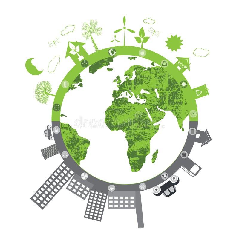 Grön livstid vs. förorening stock illustrationer