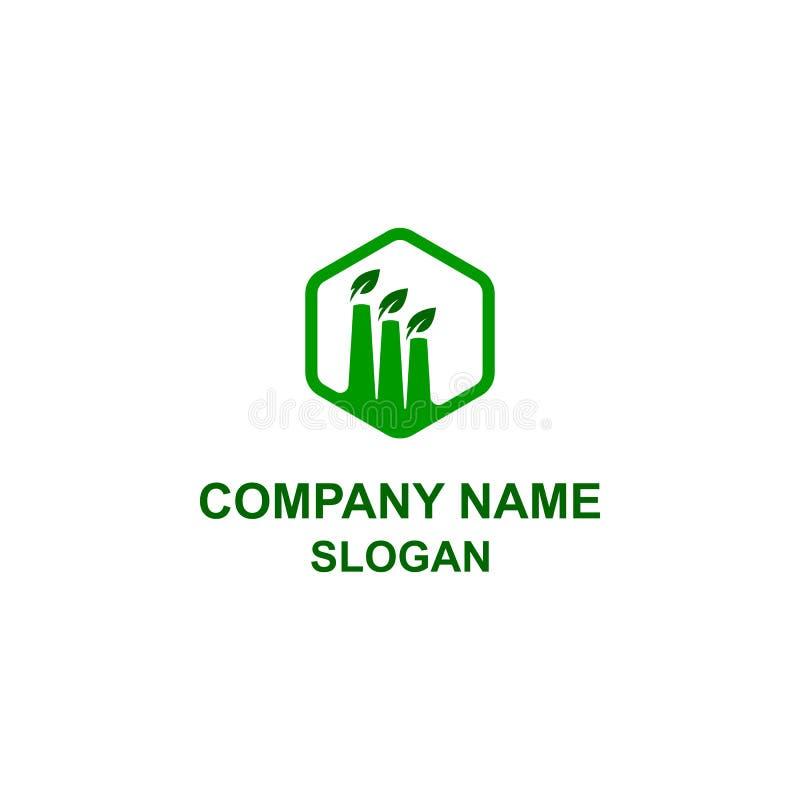 Grön logo för fabriksbyggnadssymbol stock illustrationer