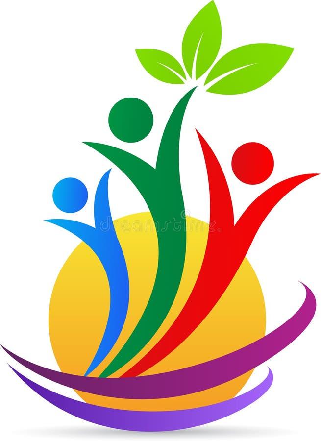 Grön logo för omsorgfolkwellness royaltyfri illustrationer