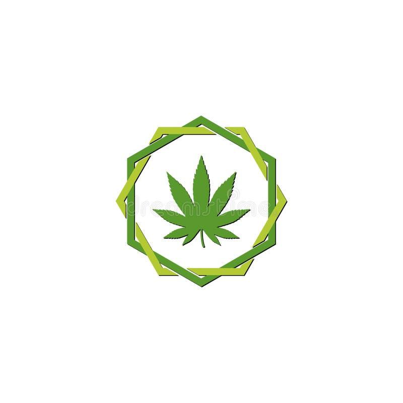 Grön logo för symbol för ogräs för marijuanacannabisblad royaltyfri illustrationer