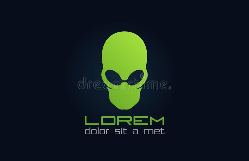 Grön logo för främling. Abstrakt tecken. Inkognito. royaltyfri illustrationer