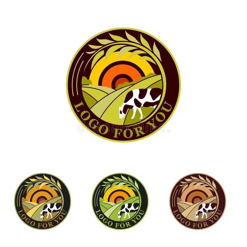 Grön logosamling för lantgård Lantliga landskaplogoer Miljö- tecken royaltyfri foto