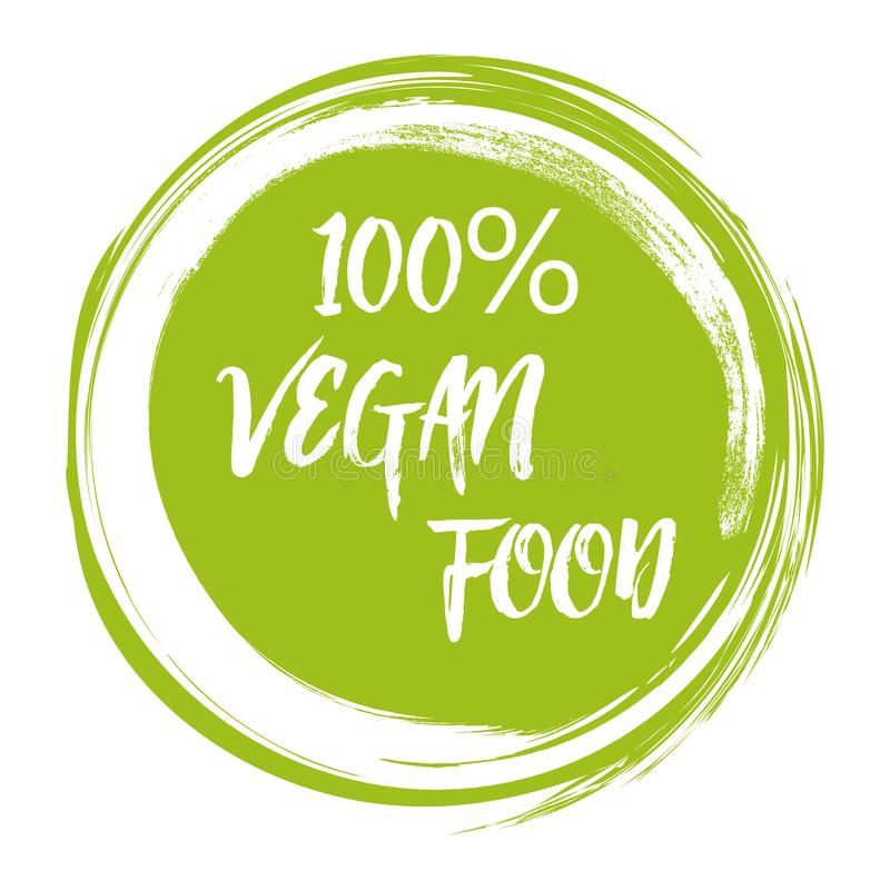 Grön logotyp för illustration för vektor för grungestrikt vegetarianmat dragen hand stock illustrationer