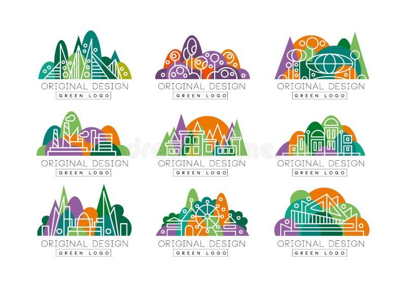 Grön logouppsättning Abstrakta symboler med nöjesfältet, fabriken, stadssikt, teatern och byggnader mot skog royaltyfri illustrationer