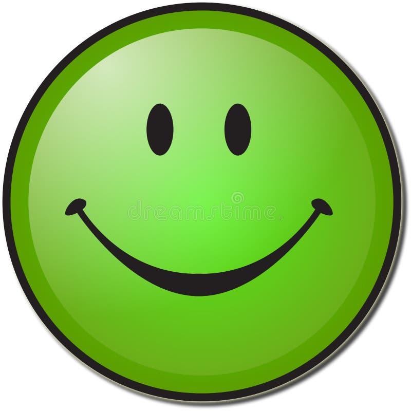 grön lycklig smiley för framsida royaltyfri illustrationer