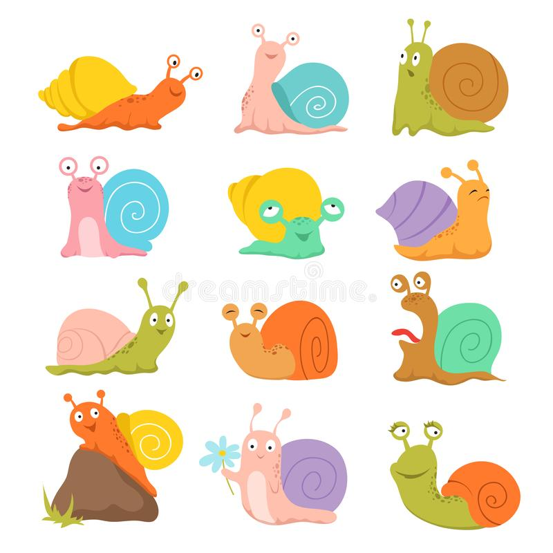 grön lycklig snail Gullig kula, blötdjur med skalet och snigel Roliga djurvektortecken stock illustrationer