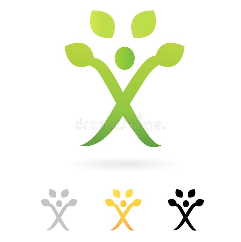 grön mänsklig symboltree för affär stock illustrationer