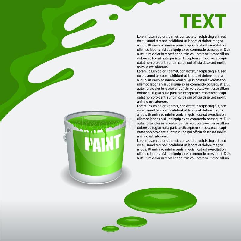 Grön målarfärgstekflott på väggen Redigerbar mall stock illustrationer