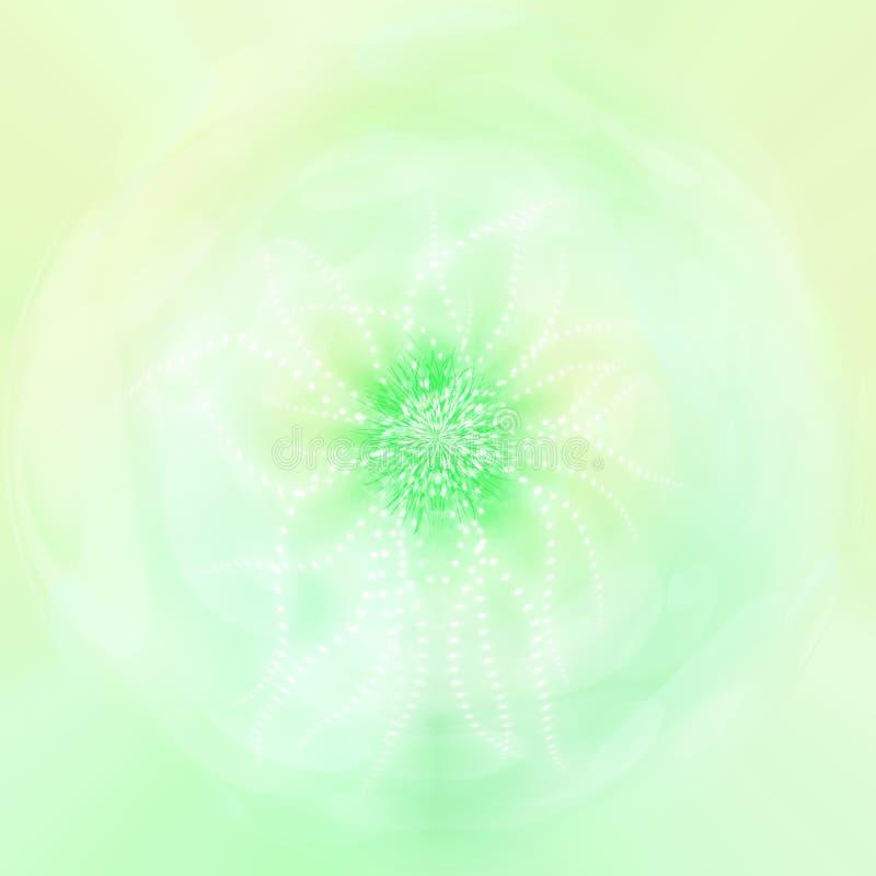 Grön magisk blommaabstrakt begreppbakgrund royaltyfri illustrationer