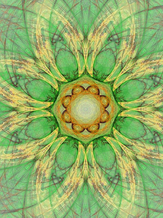 grön mandala royaltyfri illustrationer