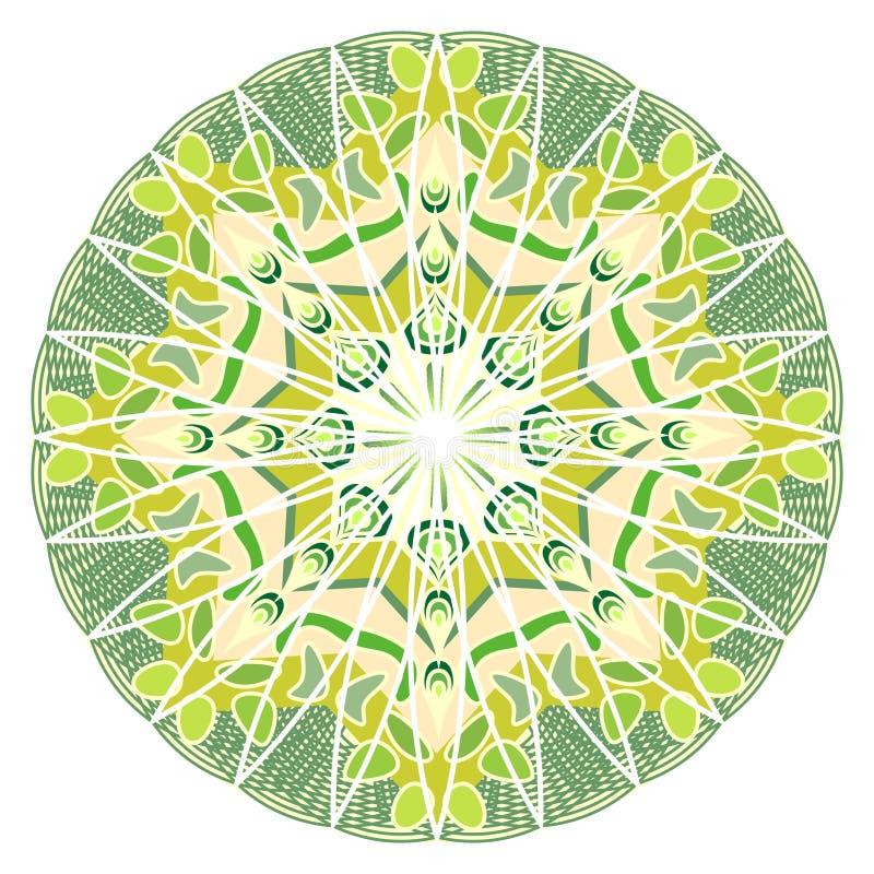 Grön mandala för energi och makt som erhåller, mandala för meditationutbildning royaltyfri illustrationer