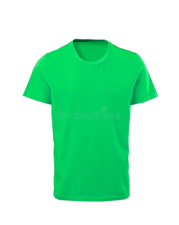 Grön manlig t-skjorta som isoleras på vit arkivfoto