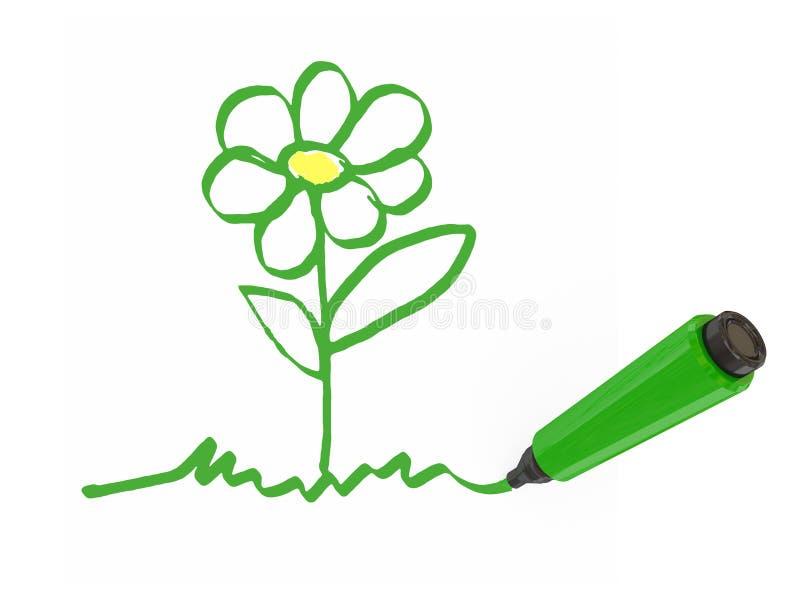 grön markörpenna stock illustrationer