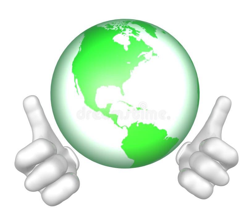 grön maskotmr värld för tecken royaltyfri illustrationer