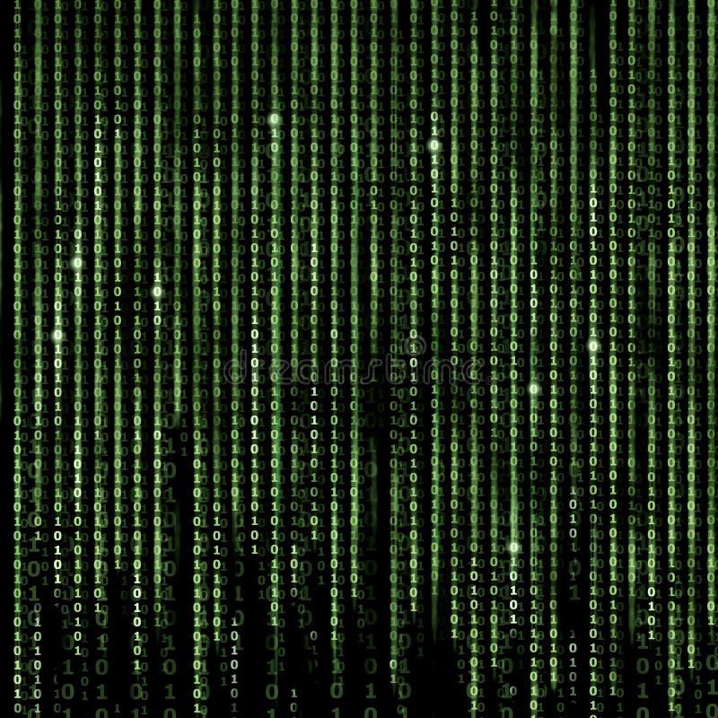 Grön matrisabstrakt begreppbakgrund, programmerar binär kod royaltyfri fotografi